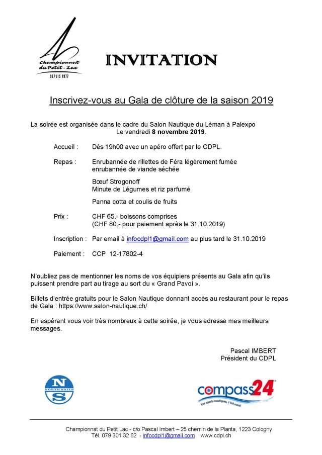 Invitation à la Soirée de Gala CDPL 2019